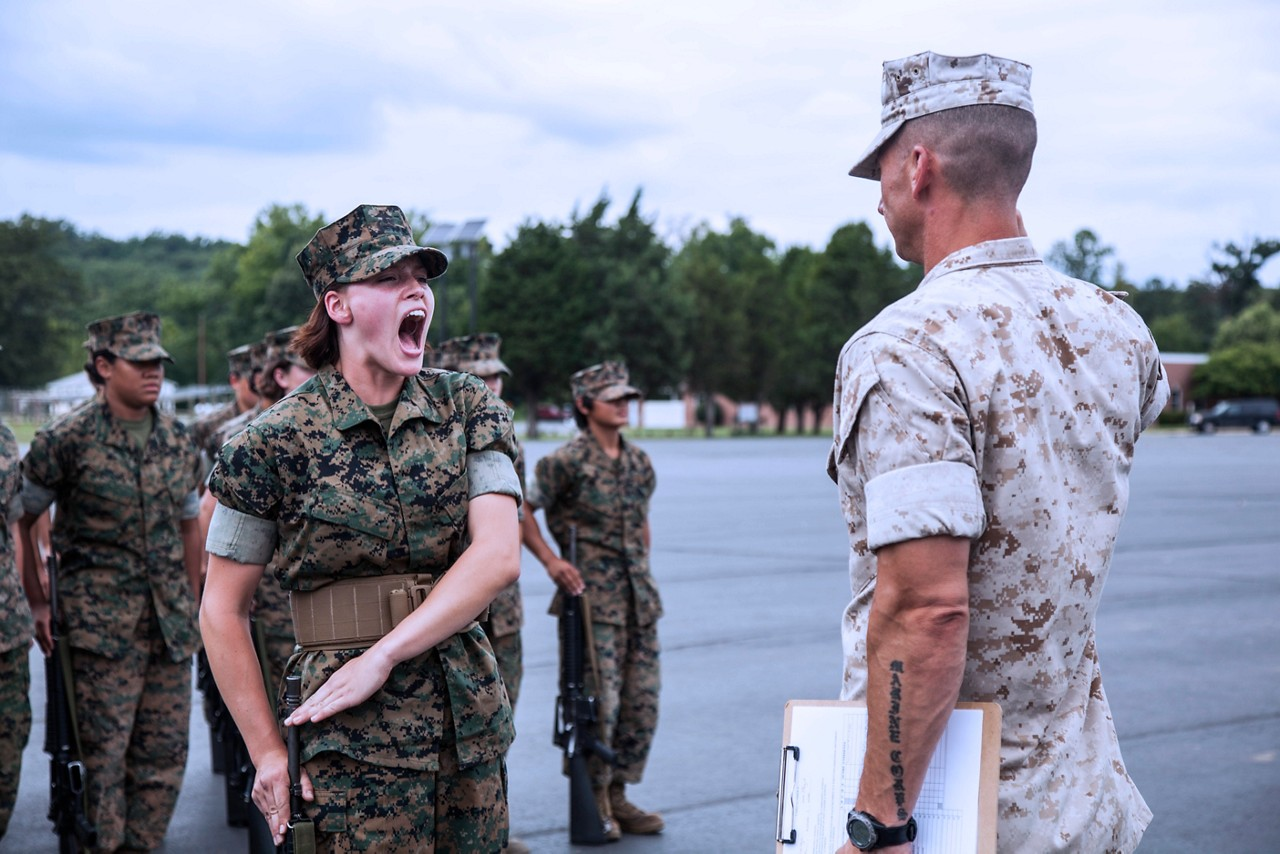 Candidates with Lima Company, Officer Candidate School (OCS), are evaluated in close order drill aboard Marine Corps Base Quantico, Va., August 3, 2016. The mission of OCS is to educate and train officer candidates in order to evaluate and screen individuals for qualities required for commissioning as a Marine Corps officer. (U.S. Marine Corps Combat Camera photo by Lance Cpl. Jose Villalobosrocha/Released)