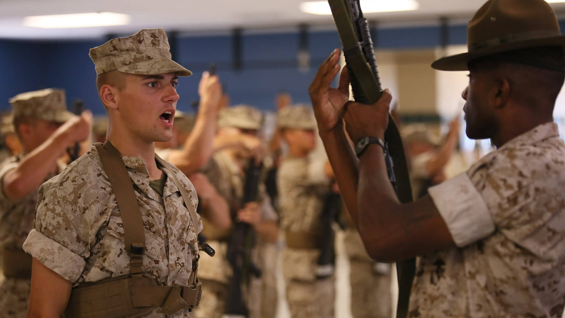 Recruits are trained to use and respect their rifles.