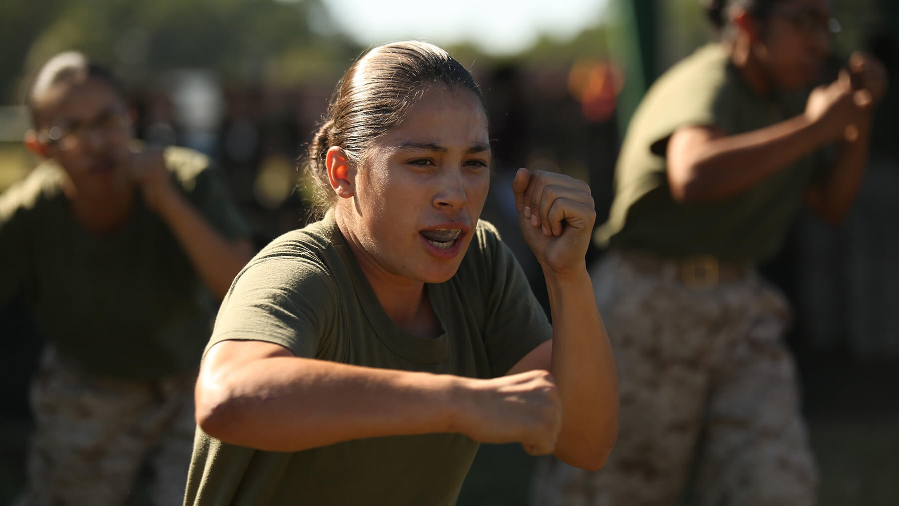 Recruits participate in physical training.