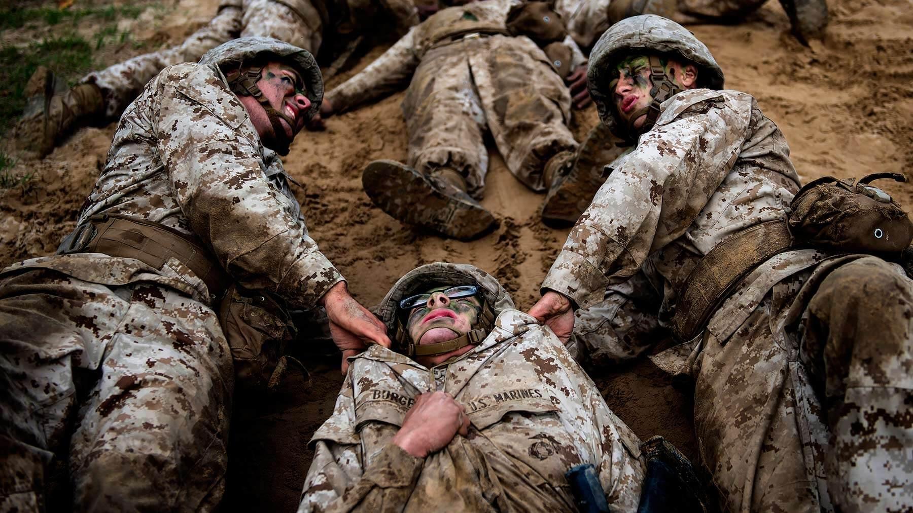Marine wounded soldier training