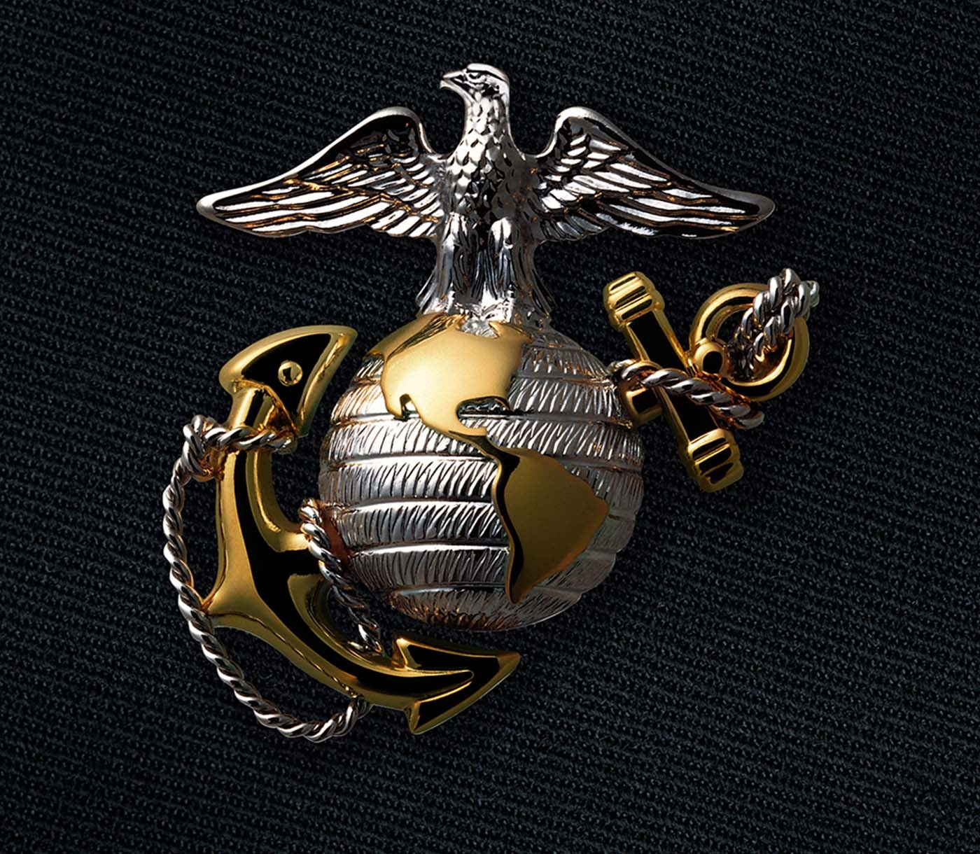 The Eagle, Globe and Anchor emblem of a Marine Officer.