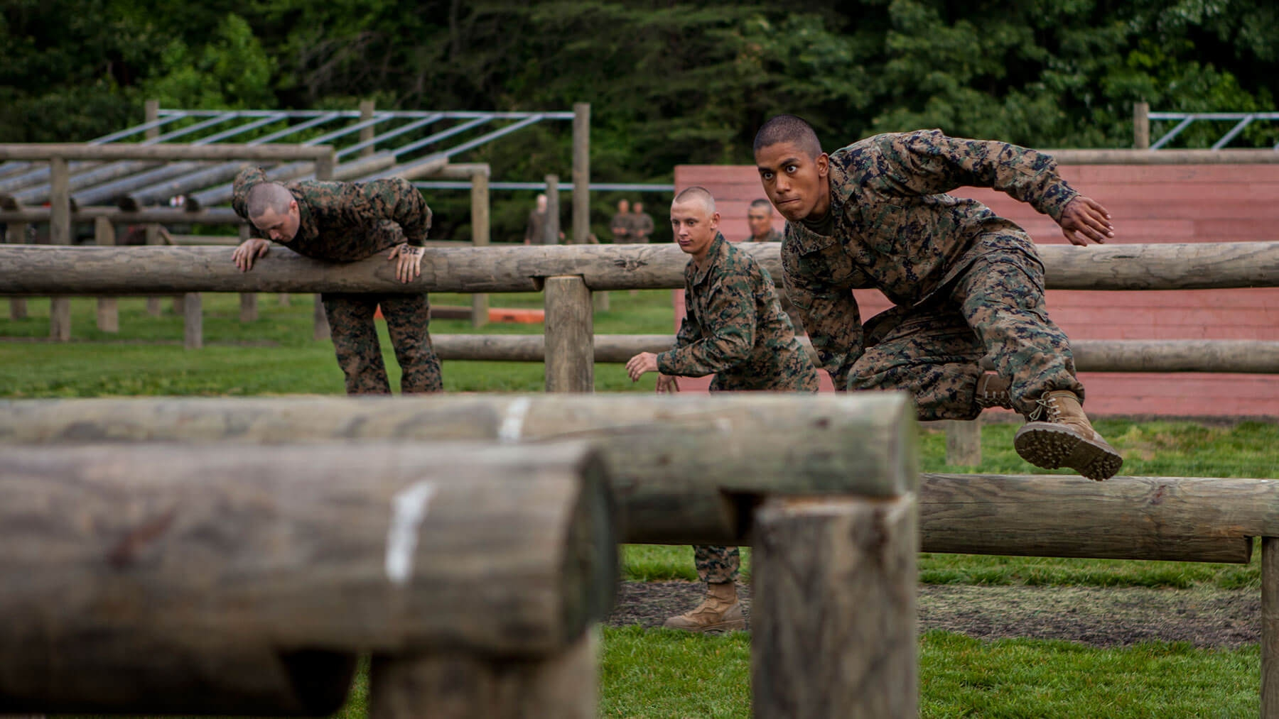The obstacle course tests officer candidates' endurance.