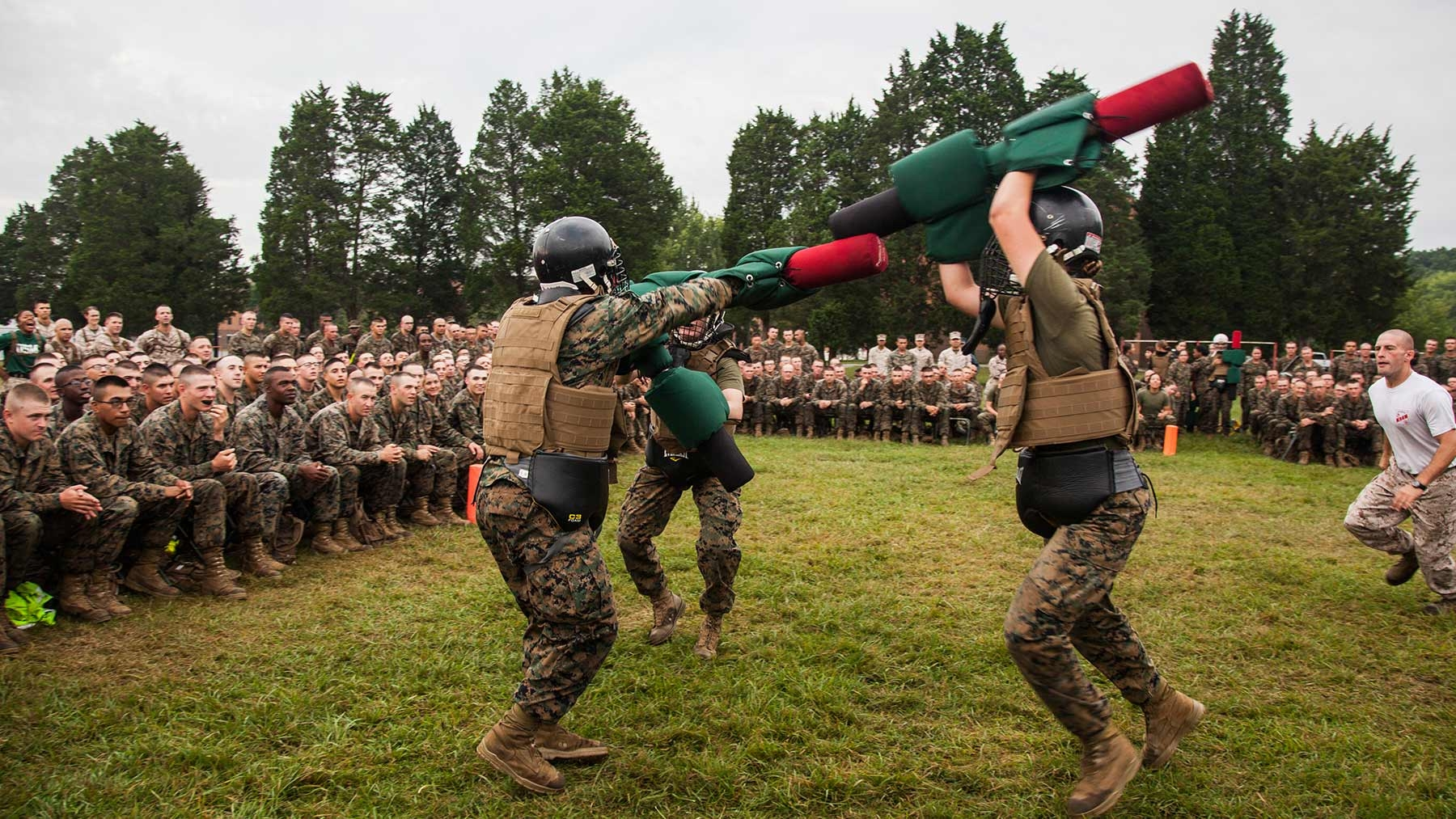 Marine officers jousting