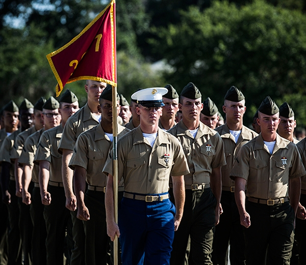A platoon marches on graduation day from Marine Corps recruit training.