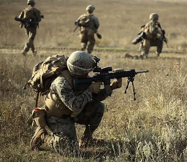 Video outlines ground combat rolls within Marine Corps and showcases weapons Marines use to win.
