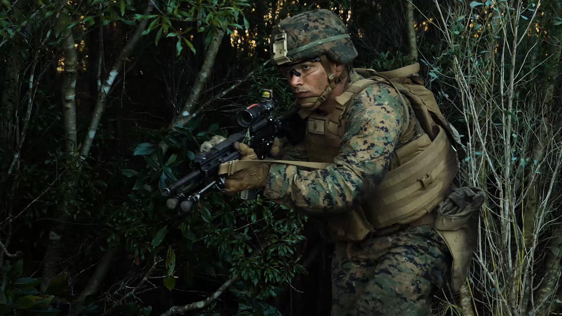 A Marine moves through windy branches, his rifle drawn.