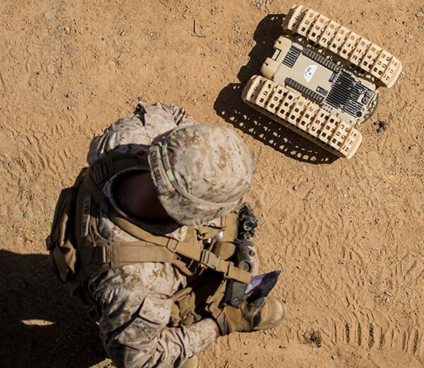 A Marine field tests equipment and technology from the Marine Corps War Fighting Lab.