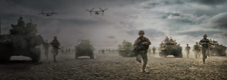 A combat scene with Marines in Ospreys, tanks and on foot running toward conflict.
