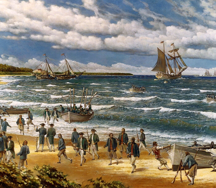 Artwork featuring the Fort Nassau beach landing by the Continental Marines.