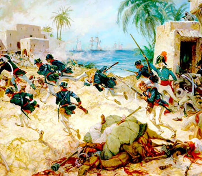 Artwork featuring the battle of Derna.
