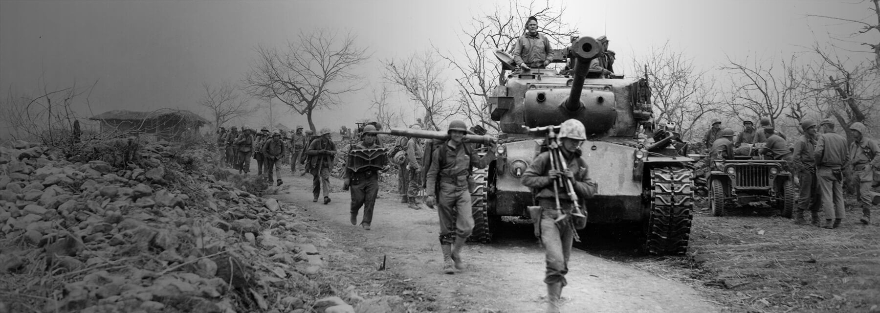 The Marines of Headquarters Company, 3rd Battalion 7th Marines near Chuchon, Korea, April 1951.